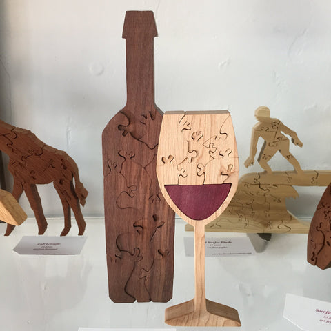 "SET of 2 ""Fruit of the Vine"" Handcarved Wooden Puzzle"