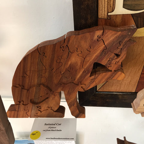 Satiated Cat Handcarved Wooden Puzzle