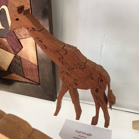 Tall Giraffe Handcarved Wooden Puzzle