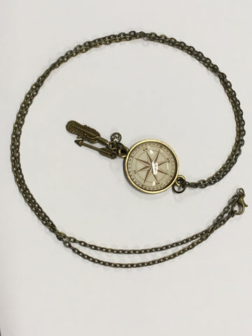 Compass Brass Pendant Necklace Charming Maps