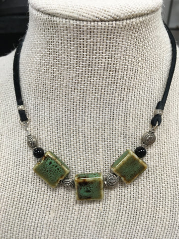 Josie Rey Designs - 3 Green Stone Necklace