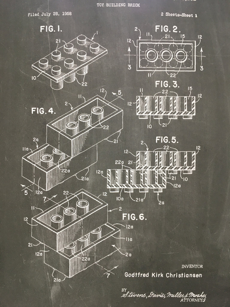 Lego Patent Drawings Wall Art Print Clever Element Schematic Engineering Diagram