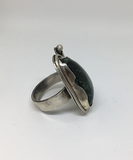 Mens Moss Agate Sterling Silver Handmade Ring