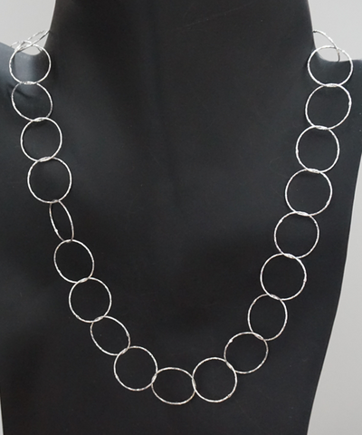 Sterling Silver Hammered Circle Necklace - CleverElement