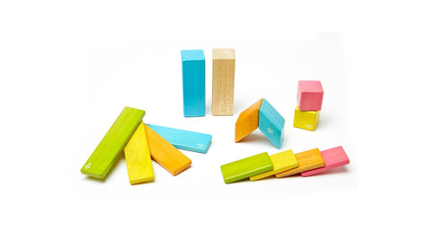 Magnetic Wooden Block Set - TINTS 14 Piece Kit - Designed in USA - Fair Trade from Honduras
