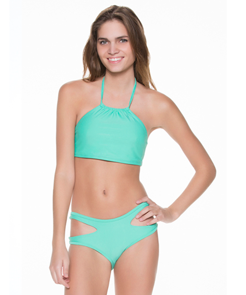 Two Piece High Neck and Side Cut-Out Bikini