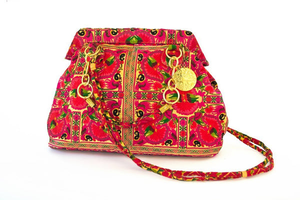 Nadine Embroidered Red Carry-all
