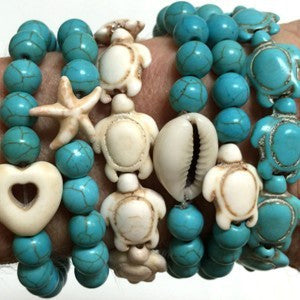 Sea Love Shell and Turquoise Bead Bracelet