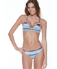 Multi-print Natural Tone Bikini with Criss-Cross Accent