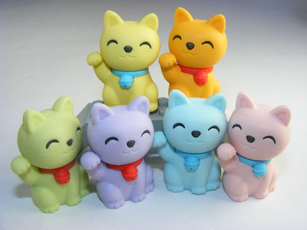 Japanese Collectible Erasers - Maneki Cat Collection