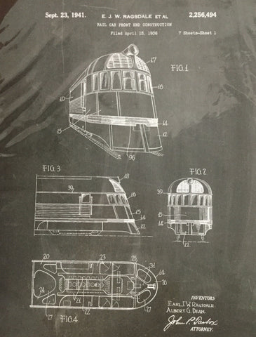 Patent Print rail car front end construction