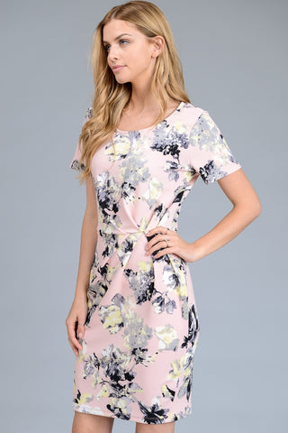 Short-sleeve Bodycon Floral Dress with Accented Waist