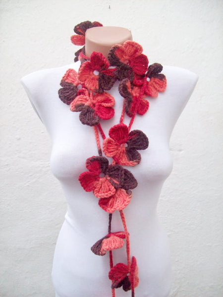 Hand-Crocheted Flower Lariat Scarf - Pinks