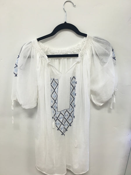 Hand-crafted Artisan Embroidered Linen Blouse