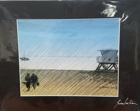 Jaime Candia Original Print Carlsbad Lifeguard Tower