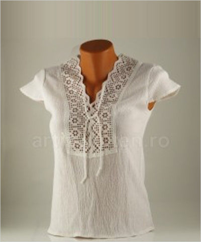 "The ""Raluca"" Linen & Lace Top - CleverElement"