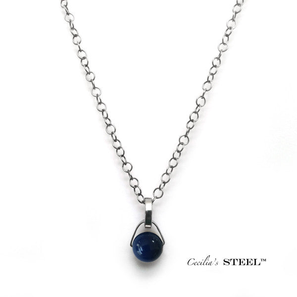 Stainless Steel and Blue Swarovski Crystal Pendant