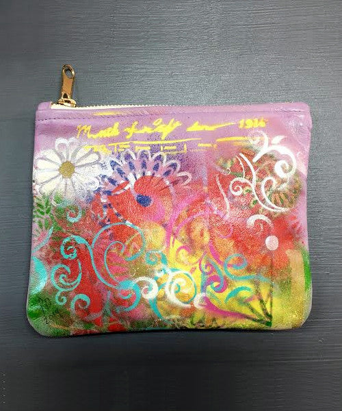 Handpainted One of a Kind Leather Clutch