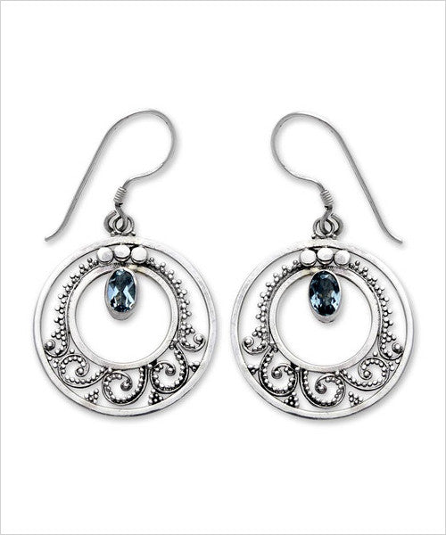 Royal Details Round Dangle Earrings Sterling Silver and Gemstone