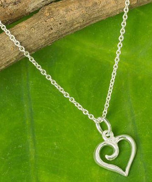 Simple Heart Sterling Silver Fair Trade Pendant