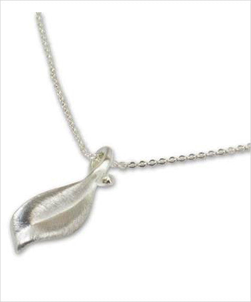 Leaf Mid-Flight Sterling Silver Fair Trade Pendant
