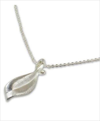 Leaf Mid-Flight Sterling Silver Fair Trade Pendant - CleverElement  - 1