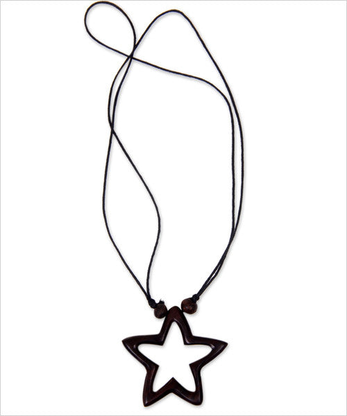 Star of Hope Wooden Hand-Carved Necklace