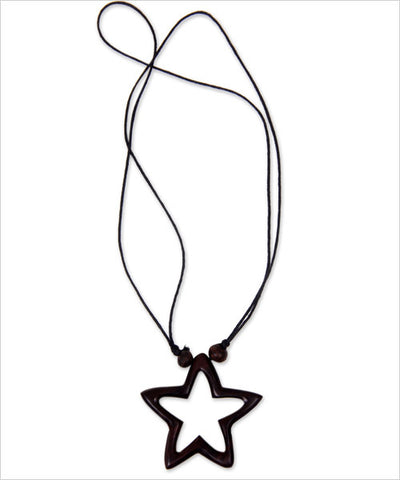 Star of Hope Wooden Hand-Carved Necklace - CleverElement  - 1