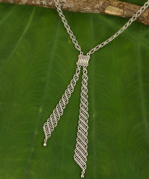Handmade Fair Trade Sterling Silver Macrame Lariat Necklace