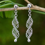 Sterling Silver Fair Trade Macrame Double Helix Earrings - CleverElement  - 2