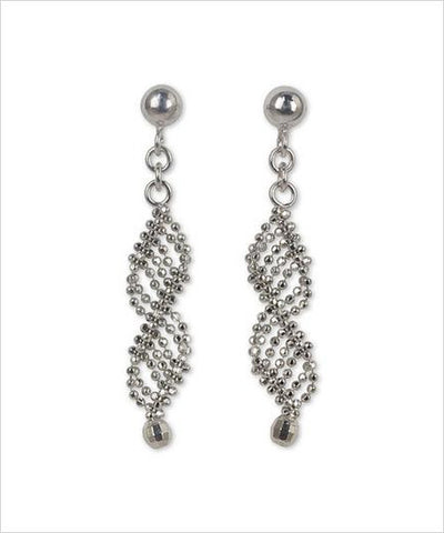 Sterling Silver Fair Trade Macrame Double Helix Earrings - CleverElement  - 1