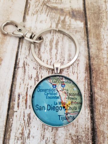 San Diego Map Keychain (Round) by Charming Maps