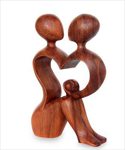 Together We are One Heart Wood Fair Trade Sculpture - CleverElement  - 1