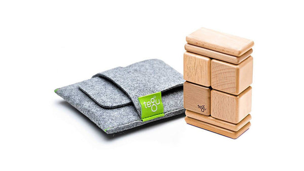 Magnetic Wooden Block Travel Set - NATURAL Pocket Pouch Original 8 Pieces - Designed in USA - Fair Trade from Honduras
