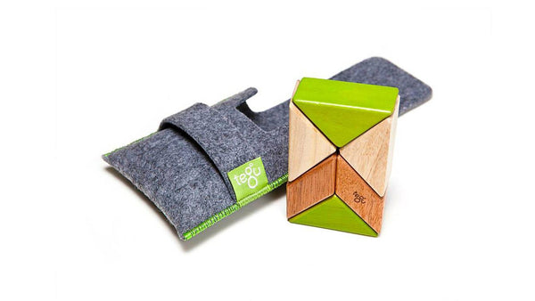 Magnetic Wooden Block Set - Prism Pouch Kit - Designed in USA - Fair Trade from Honduras