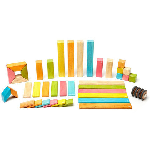 Magnetic Wooden Block Set - TINTS 42 Piece Kit - Designed in USA - Fair Trade from Honduras