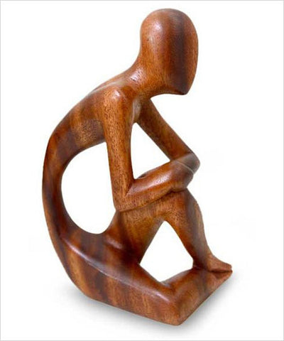 A Lone Man Wood Sculpture - Fair Trade from Bali