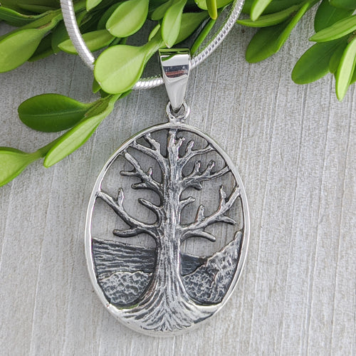 Landscaped Tree of Life Pendant, Large, Sterling Silver