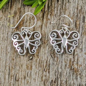 Butterfly with Curly Wings Earrings, Sterling Silver
