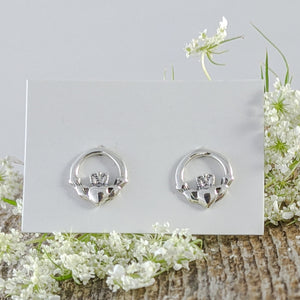 Claddagh Stud Earrings, Small, Sterling Silver