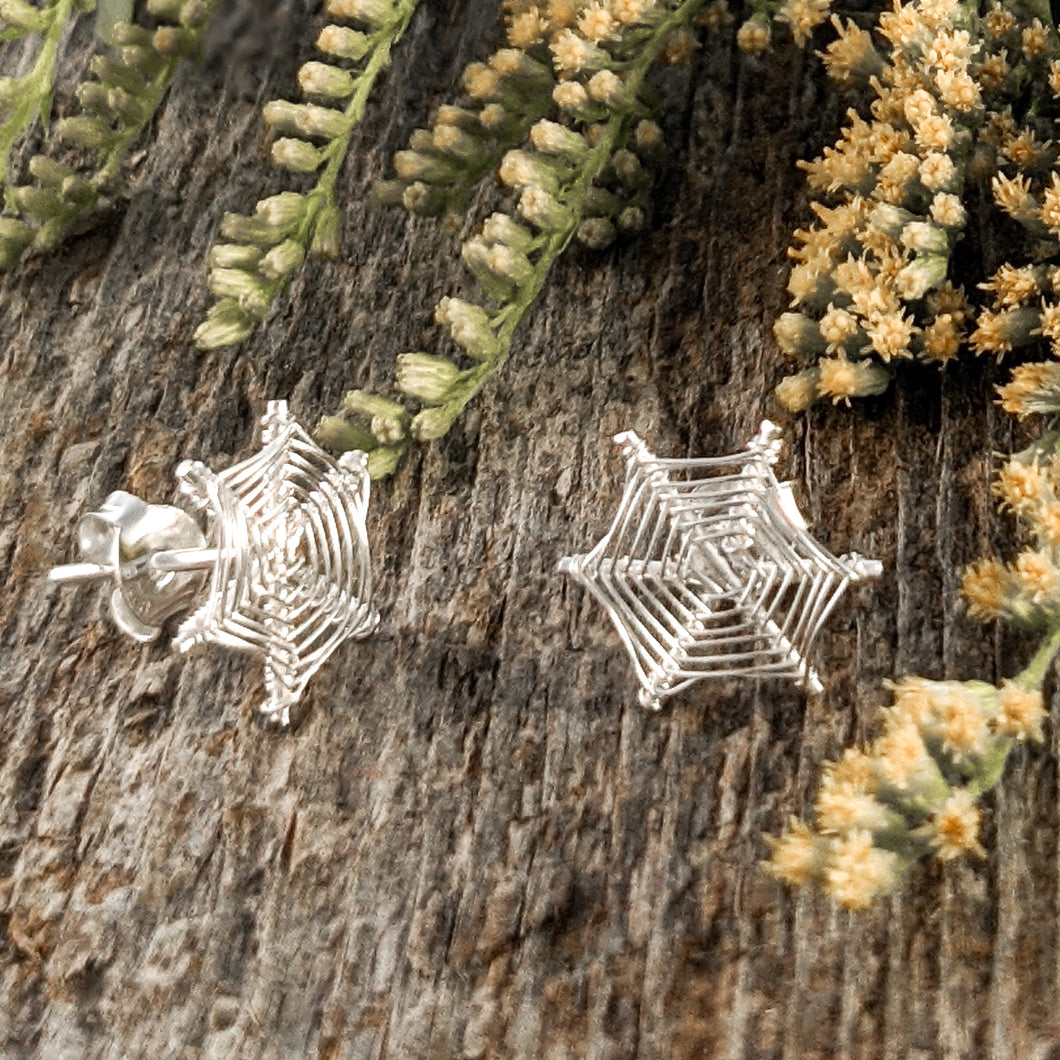 Spiderweb Stud Earrings, Sterling Silver