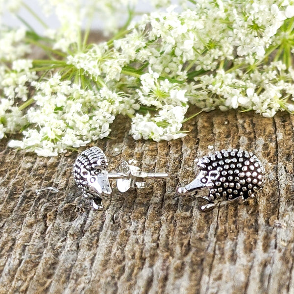 Hedgehog Stud Earrings, Sterling Silver
