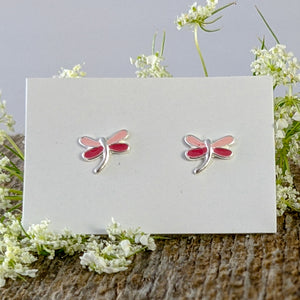 Pink Dragonfly Stud Earrings, Sterling Silver