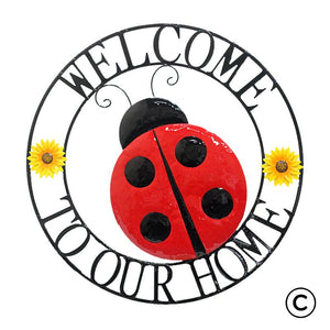 Welcome to Our Home Ladybug Wall Art : Indoor/Outdoor