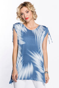 Feathered Brush Stokes Print Tunic : Demin (S-XL)