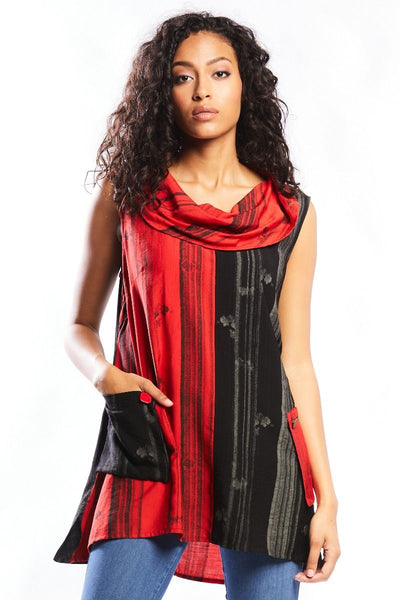 Colour Contrast Tunic with Pockets : Red/Black (S-XXL)