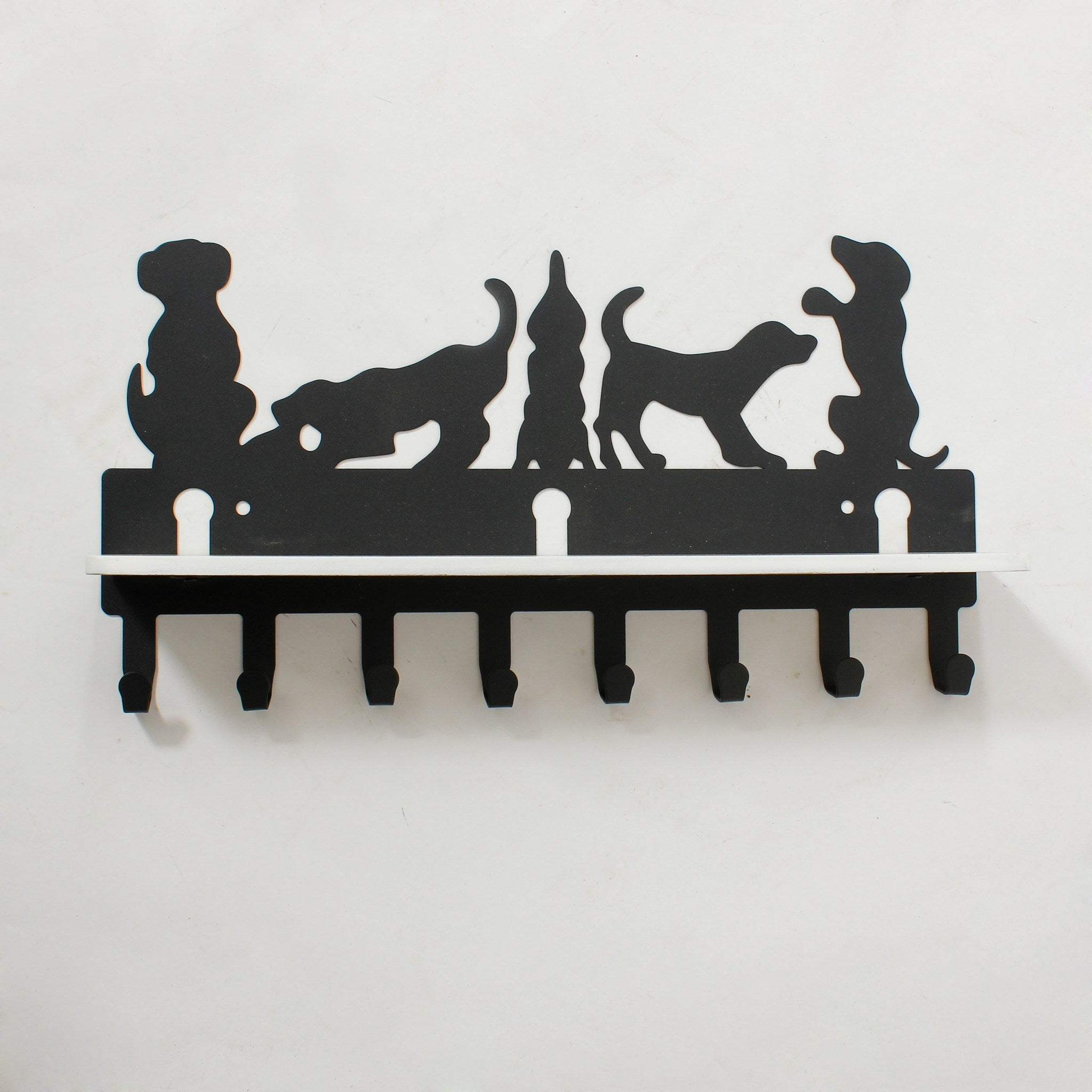 Playful Dogs Shelf with Hooks