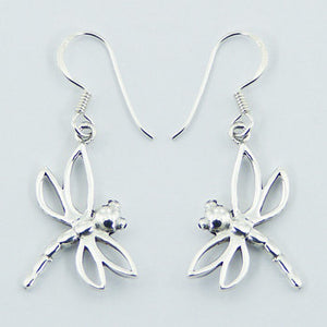 Dragonfly Side-hang Earrings, Sterling Silver