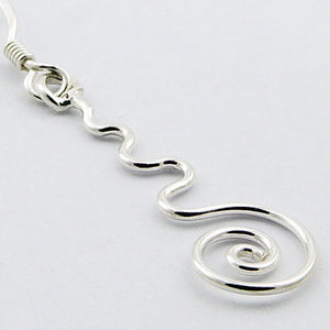 Wave and Swirl Earrings, Sterling Silver