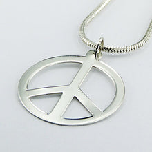 Load image into Gallery viewer, Peace Symbol Sterling Silver Pendant (large)